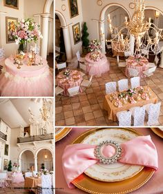 Pink and Gold vintage wedding - @Elizabeth Lockhart L Party Rentals in Sac Bride and Groom, Grand Island Dining Room