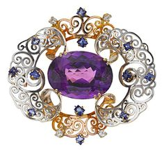 Retro Amethyst, Sapphire, Platinum-Topped Gold Brooch.