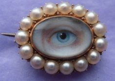 VERY RARE GEORGIAN LOVERS EYE MINIATURE IN A GOLD & PEARL SET BROOCH...