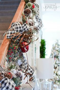 Red Plaid Christmas Decor: Cozy Tour - A Pop of Pretty Decor Ideas Cottage Christmas decor staircase railing Cottage Christmas Decorating, Farmhouse Christmas Decor, Country Christmas, Christmas Island, Canadian Christmas, Holiday Decorating, Farmhouse Decor, Buffalo Check Christmas Decor, Farmhouse Ideas
