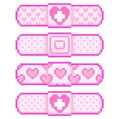 "kicked-in-teeth: "" Pinkie Bandaids {Deviant art Cute Pixels, Modele Pixel, Arte 8 Bits, 8bit Art, Anime Pixel Art, Japon Illustration, Perler Bead Art, Fuse Beads, Creepy Cute"