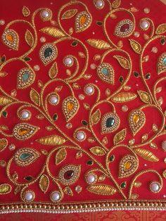 Cutwork Blouse Designs, Wedding Saree Blouse Designs, Simple Blouse Designs, Peacock Embroidery Designs, Kurti Embroidery Design, Hand Embroidery, Tambour Embroidery, Embroidery Works, Embroidery Stitches