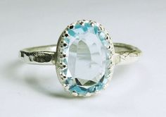 Swiss Blue Topaz Ring Sterling Silver Filagree Setting