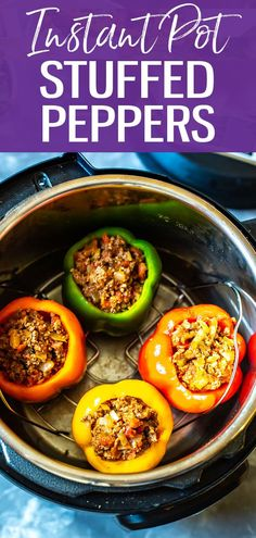 These Instant Pot Stuffed Peppers with ground beef are a delicious, low-carb option for busy weeknights with a Mexican twist. This recipe minimizes clean up too! #stuffedpeppers #instantpot Cooking For Two, Cooking Ideas, Mexican Stuffed Peppers, Fresh Salsa, Instant Pot Dinner Recipes, Grass Fed Beef, Meal Prep Bowls, 30 Minute Meals, Pressure Cooking
