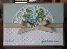 A special card for a friend. Express Yourself, Stippled Blossom, Paper Doily, Perfect Polka Dots Embossing Folder, Crumb Cake Tafetta Ribbon, Crumb Cake, Soft Sky, Whisper White, Island Indigo, Pear Pizzazz, Gumball Green, by Kris McIntosh, www.stampingwithkris.com