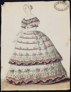 Design for an evening dress, 1850-55, MFA Boston    check out that plaid under lining!