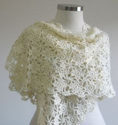 Ivory Shawl Crochet Bridal Hand Crocheted Love by...
