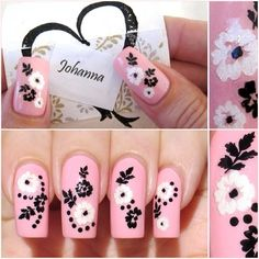 Cute pink nail polish art design..