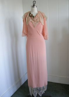1930's Vintage Peach Halter Dress with Lace Very Great Gatsby