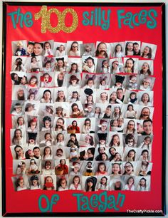 Great craft your child or students could do for the 100th Day of School! 100 Silly Faces board.