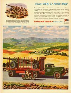 1944 vintage WW2 ad, AUTOCAR HEAVY TRUCKS GO TO WAR -110112