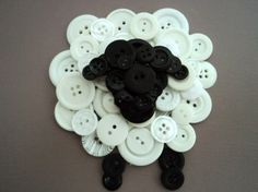 Three button sheep create a textured wall hanging for your little one's bedroom or nursery. Sheep are made of black and white buttons and stand on an painted canvas. Choose your background color. Easter Crafts, Fun Crafts, Diy And Crafts, Christmas Crafts, Crafts For Kids, Arts And Crafts, Sheep Nursery, Sheep Crafts, Sheep Art