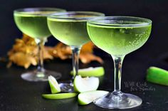 Luscious Sour Apple Champagne Cocktail Recipe Beverages with sour apple schnapps, triple sec, vanilla vodka, champagne