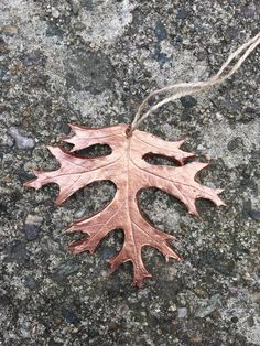 Copper, rose gold oak leaf ornament, pendent for garden and nature lovers