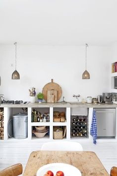 Concrete Kitchen Cabinets – bold and unusual ideas in modern homes - Decoration 4 Kitchen Interior, New Kitchen, Kitchen Dining, Kitchen Decor, Rustic Kitchen, Decorating Kitchen, Kitchen Styling, Decorating Ideas, Cozy Kitchen