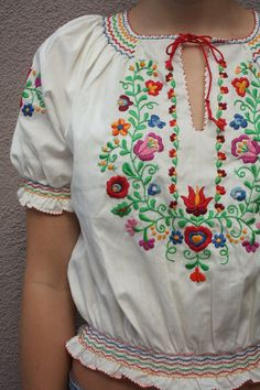 RESERVED Vintage Hungarian Peasant Floral Embroidery Folk Blouse Top Shirt…