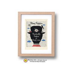 Mary Poppins practically perfect in every way dictionary print -Poppins quote print-Poppins book page-Upcycled Dictionary art- NATURA PICTA on Etsy, $5.99