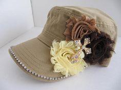 Khaki Hat, Military Cadet Hat, Woman Hat, Girls Hat, Flowers, Cross, Women Cadet Caps, Rhinestone Cadet Cap, Teens, Girls on Etsy, $21.00