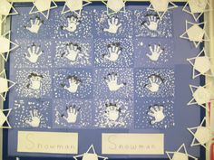 Hand print snowmen and Popsicle stick snowflakes bulletin board in Kindergarten.