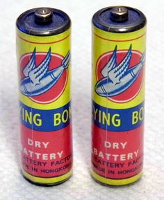"""Vintage """"Flying Bomb"""" AA Batteries for Transistor Radios, Great Name & Graphics."""