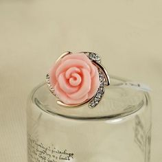 New Lovely Pink Rose Crystal Alloy Gold Plated Women's Ring - USD $39.95