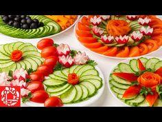 5 Красивых овощных нарезок на Праздничный стол! Как красиво нарезать Овощи обычным ножом! - YouTube Fruit Display Wedding, Fruit Displays, Food Decoration, Food Crafts, Kitchen Hacks, Food Presentation, Afternoon Tea, Sushi, Watermelon