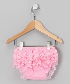 Take a look at this Pink Lace Ruffle Diaper Cover - Infant & Toddler on zulily today!