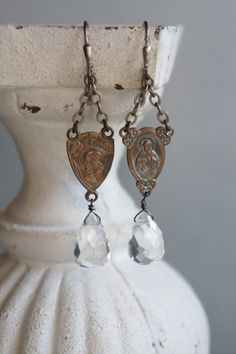 Vintage assemblage earrings by frenchfeatherdesigns on etsy.