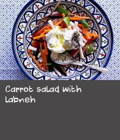 Carrot salad with labneh Turnip Recipes, Carrot Salad Recipes, Cabbage Recipes, Dishes Recipes, Food Dishes, Moroccan Salad, Fresh Cream, Cream Recipes, Carrots