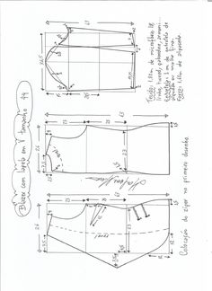 Esquema de modelagem de blazer com lapela tamanho 44.