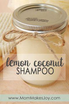Learn to make your own organic lemon coconut shampoo! Inexpensive and great for your hair, this lemon coconut shampoo will be your new favorite. | DIY Bath and Body | Organic shampoo | SLS Free SLES Free No Parabens | Mom Makes Joy