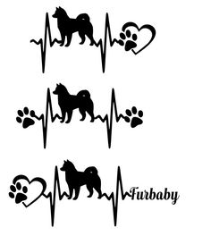 SVG Cut File Siberian Husky Heartbeat paw with heart- Scrapbook,  Tshirt Tote…