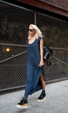 shift dress with lug sole footwear