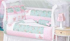 Enxoval de berço rosa, azul e lilás com borboletas | Quarto de bebê - Decoração, bebês, gravidez e festa infantil