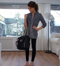 plaid and skinnys love this! Our double date night tomorrow is at a karaoke bar no need for heels!