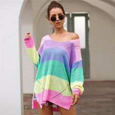 """Put a feminine touch on your casual wardrobe with this oversize sweatshirts."" #oversizesweatshirts #knittedtops Long Sweaters, Sweaters For Women, Rainbow Sweater, Knitwear, Pullover, Fashion Sale, Women's Fashion, Fashion Outfits, Pastel Fashion"