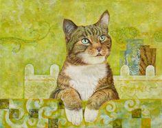 """Saatchi Online Artist: Abhisek De; Acrylic, Painting """"The Cat"""""""