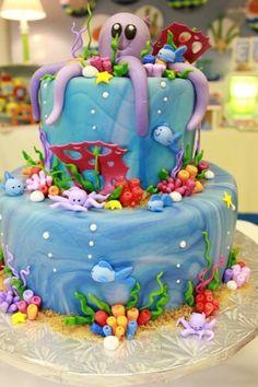 Under the Sea Birthday Party Ideas Crazy Cakes, Fancy Cakes, Pink Cakes, Pretty Cakes, Cute Cakes, Fondant Cakes, Cupcake Cakes, Ocean Cakes, Mermaid Cakes