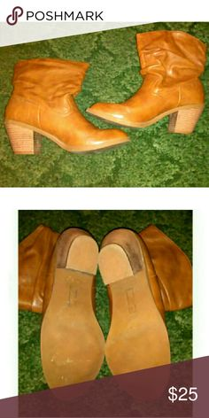 Tan Heeled Boots Thick heel for walking comfort. Little wear on bottoms. Orangy tan color. Shoes Heeled Boots