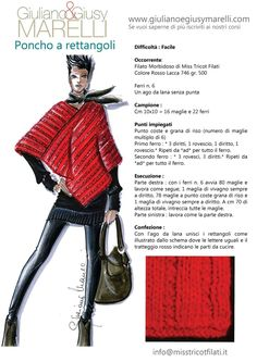 Poncho a rettangoli Poncho Shawl, Knitted Poncho, Knitted Shawls, Knitting Charts, Knitting Patterns, Knitting Designs, Knitting Projects, Fashion Illustration Portfolio, Knit Crochet