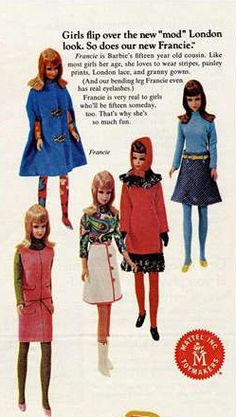 Mattel Ad - Barbie and Family Advertisements - New Francie and Mod Fashions