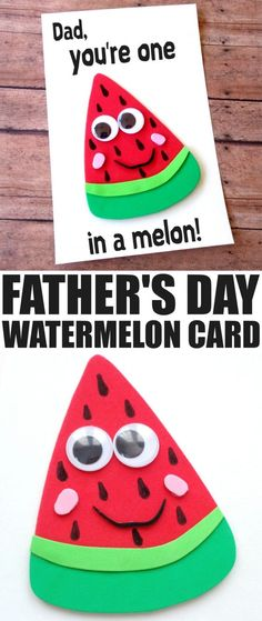 Father's Day is coming up and while it can be difficult to figure out what colour of tie to get for Dad for Father's Day, a hand made card is always going to be a hit. This DIY Father's Day Watermelon (Diy Geschenke Ehemann) Daycare Crafts, Toddler Crafts, Preschool Crafts, Fun Crafts, Crafts For Kids, Baby Crafts, Easy Diys For Kids, Fathers Day Art, Fathers Day Crafts
