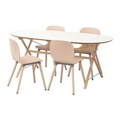 IKEA - SLÄHULT/DALSHULT / SVENBERTIL, Table and 4 chairs, The melamine table top is moisture resistant, stain resistant and easy to keep clean.The table top has pre-drilled holes for the underframe which makes assembly easy.