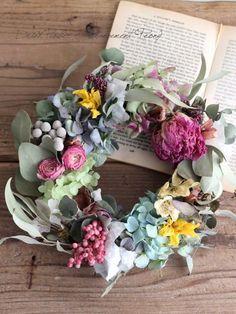 春の夢見るリース - ドライフラワーリース/ウェルカムボード/ ウェルカムリース| Dried Flower Arrangement ''Peony'' ピオニー