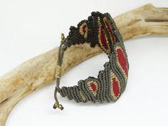 Khaki and red macrame braceletAdjustableLuxurious Macrame Bracelets, Trending Outfits, Unique Jewelry, Handmade Gifts, Etsy, Vintage, Bracelets, Kid Craft Gifts, Handcrafted Gifts