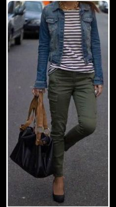 outfit idea for my new olive skinny jeans. I like the pairing with stripes and a., outfit idea for my new olive skinny jeans. I like the pairing with stripes and a jean jacket Casual Fall Outfits, Mom Outfits, Summer Outfits, Cute Outfits, Winter Outfits, Teacher Outfits, Over 40 Outfits, Dance Outfits, Beautiful Outfits