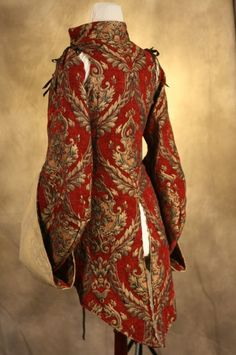Red and Gold Corseted Pirate Coat Waist by damselinthisdress