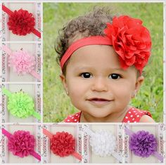 Children Hair Accessories Baby Girls 9cm Large Flower Headbands With Ruffled Chiffon Flower With Elastic Hair Bands Kha82 From Convoy, $0.61 | Dhgate.Com
