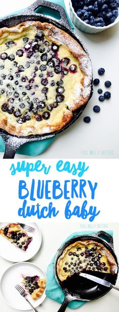 So easy and delicious! This Blueberry Dutch Baby is packed with berries and prot… So easy and delicious! This Blueberry Dutch Baby is packed with berries and protein, so it's a filling and nutritious breakfast or brunch. Baby Food Recipes, Sweet Recipes, Dessert Recipes, Cooking Recipes, Dutch Desserts, Dutch Recipes, Food Baby, Dutch Baby Pancake, Dutch Pancakes