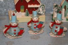 3 Vintage Inspired Spun Cotton Snowman Blue and Red Ornment | eBay
